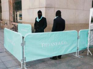 Branded barricades near the Trump building in midtown Manhattan.