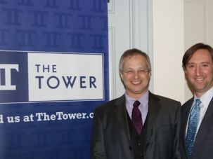 New Approach:  The head of The Israel Project, Josh Block, right, and David Hazony appear at a launch of the group?s new publication, The Tower.