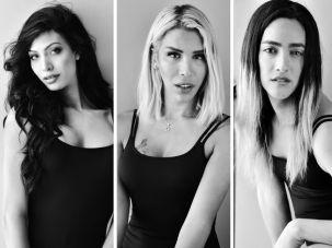 Contestants Ta'alin Abu Hanna, 21, Carolin Khoury, 24 and Lee Aviv, 26.