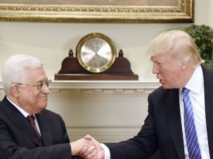 Donald Trump and Mahmoud Abbas at the White House, May 3, 2017