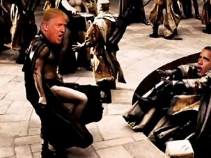In a still from a pro-Donald Trump video made by a white supremacist supporter, Trump can be seen killing President Barack Obama.