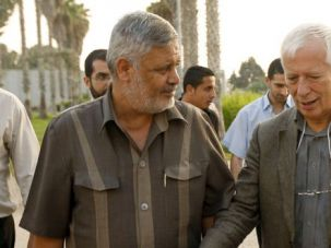 Investigation: German professor Christian Tomuschat (right) speaks with Hamas representative Ahmed Yusef while visiting Gaza in August.
