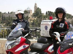 Volunteers from the United Hatzalah medical service in Jerusalem.