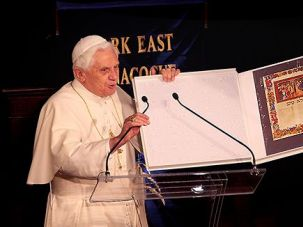 Gut Yontiff Pontiff: Pope Benedict XVI goes to synagogue while visiting New York in 2008.