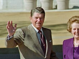 Birds of Feather: Margaret Thatcher and Ronald Reagan meet at dedication of his presidential library in 1991.
