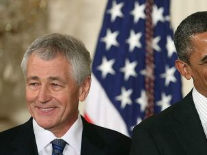 Falling in Line: Chuck Hagel used to be known as a lawmaker who marched to his own beat, especially on the Middle East and Iran. Now that he?s aiming to be President Obama?s Pentagon chief, he?s hewing closer to the mainstream.