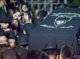 Little Leiby: Heartbroken Hasidic Jews mourn the death of Leiby Kletzky in Boro Park, Brooklyn, last summer.