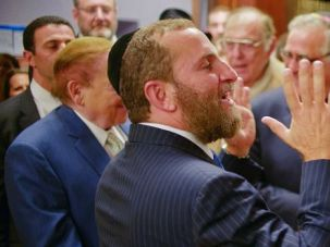 Sheldon and Shmuley: Shmuley Boteach speaks alongside Sheldon Adelson at a Yeshiva University panel. The rabbi defended the casino mogul for saying the U.S. should attack Iran with nuclear weapons.