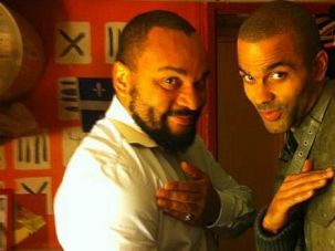 Shameful Move: French comedian Dieudonne Mbala-Mbala performs the controversial ?quenelle? gesture with basketball star Tony Parker. Parker now says he didn?t know the salute has anti-Semitic overtones.