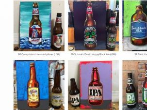 A few of the 99 beer paintings by artist Tom Sanford on view at Gitler &___, a gallery in Harlem.