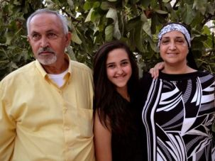 From America to Jerusalem: The sprawling Abu Khdeir family includes (from left) Issa, his daughter Shamia, his wife Hend and Sarah Awad, a cousin visiting from Virginia.