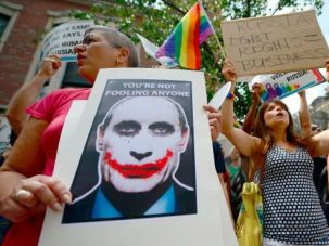 Gay Rights: Protesters hold a demonstration against Russian anti-gay legislation in front of the Russian Consulate in New York on July 31. They want the Russian government to repeal the anti-gay propoganda law before the 2014 Winter Olympics in Sochi.