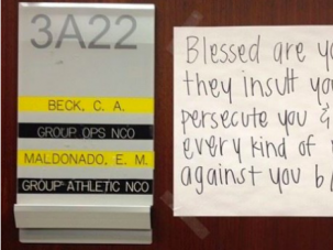 Christian Pressure? A message written by Air Force Academy cadet after another more fervently Christian verse was ordered removed.