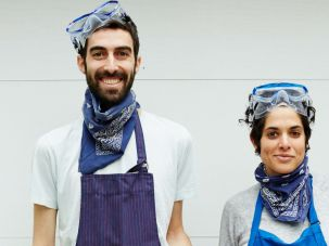 Wondering why Gefilteria peeps Jeffrey Yoskowitz and Liz Alpern are sporting protective eyewear? It has to do with the horseradish and grater we had to crop out of the photo.