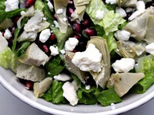 Try this artichoke salad with pomegranate seeds and goat cheese.