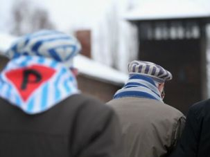 Auschwitz survivors walk on the grounds of the death camp on the 70th anniversary of its liberation from the Nazis.