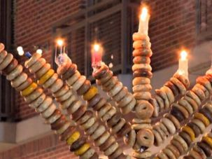 This 10-foot-high bagel menorah from Chabad in Bethesda, Maryland, is made from 400 bagels.