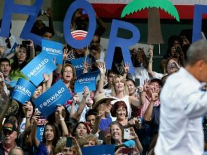 Game On: Barack Obama, shown campaigning in Florida, has history on his side as he fights for the lion?s share of the Jewish vote in November.