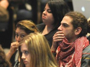 Growing Trend : Pro-Palestinian activists listen at a conference at the University of Pennsylvania.