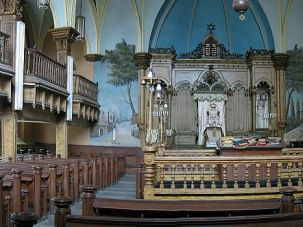 An interior shot of the historic synagogue.