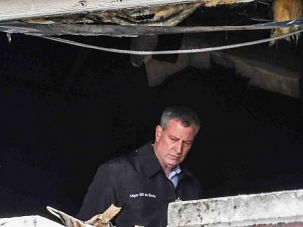 Unspeakable Tragedy: Mayor Bill de Blasio examines the aftermath of a fire that killed 7 Orthodox children in Brooklyn.
