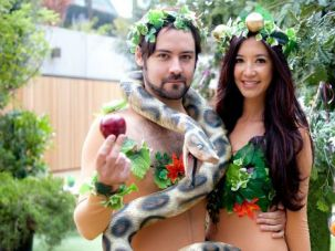 Grand Opening: Models portraying Adam and Eve at the Genesis-themed opening of London?s JW3 Jewish community center.