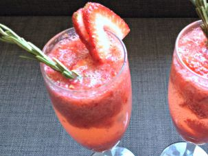 This seasonal twist on a classic bellini combines fresh strawberries and Prosecco.