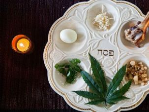 The seder plate at Le'Or's inaugural Cannabis Seder included a marijuana leaf.