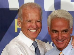 Sunshine Guys: Charlie Crist campaigns with Vice President Joe Biden in Florida's tightly contested gubernatorial race.