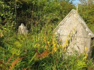 Overgrown: This neglected Jewish cemetery in the Polish town of Checiny was used for a racy photo shoot.