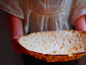 Hand-made matzo from Rokhat Kosher Bakery in Rego Park, Queens.