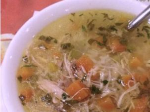 Grandma Beauty's chicken soup gets a kick from ginger and garlic.