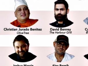 Chopping Hunger: The competitors and the judges.