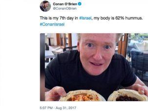 Conan O'Brien is eating his way through Israel.