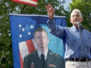 Privacy Please: Daniel Ellsberg, who leaked the infamous Pentagon Papers in the 1970s, speaks at a rally for accused WikiLeaks leaker Bradley Manning. Ellsberg has become an outspoken opponent of the government?s use of the Espionage Act to target those who reveal controversial programs.