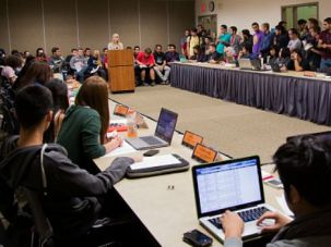 Campus Debate: Students at the University of California-Irvine debate a proposal to call for divestment from Israel.