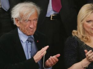 Nobel laureate Elie Wiesel basks in applause during Benjamin Netanyahu's speech to Congress.