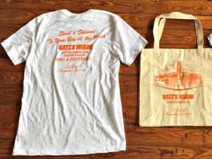 Sure to become a collector's item: 'Send a Salami to Your Boy at the Beach' tee and other merch from Miami Beach's fake Katz's.
