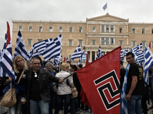 Down with Dawn:Supporters of the right-wing Golden Dawn party rally outside Greek parliament in June 2014.