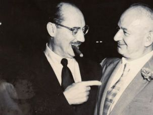 Groucho Marx with Louis Anzelowitz the owner of Moskowitz & Lupowitz, a popular Lower East Side restaurant that closed in 1966.