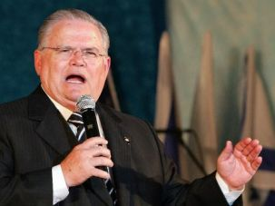 Pro-Israel: U.S. pastor John Hagee speaks during a visit with Evangelical Christians to the Israeli settlement of Ariel.