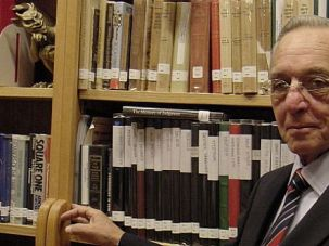 Archive of Evil: Harry Mazal, pictured here in his home Holocaust library in 2002, spent the latter years of his life obsessed with amassing a collection of material on the Holocaust.