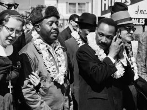 ?Pray With Our Legs : Rabbi Abraham Joshua Heschel, right, marches with Dr. Martin Luther King and other civil rights leaders.