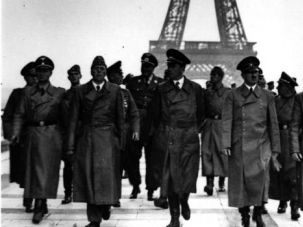 Better Than Barack? Adolf Hitler and his generals march in front of Eiffel Tower after occupation of France.