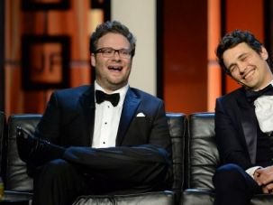"Scary Clowns: Seth Rogen and James Franco, stars of ""The Interview."""