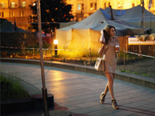 Better Than Ever: A woman walks through Independence Square on May 22, 2014 in Kiev, Ukraine.