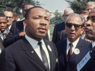 Fifty Years Ago: Rabbi Joachim Prinz (center) confers with Martin Luther King Jr. as the two prepared to speak at the historic March on Washington in 1963.