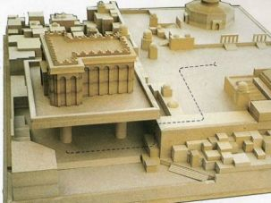 A 1991 vision for the Third Temple, which was intended to rise on the Temple Mount plaza.