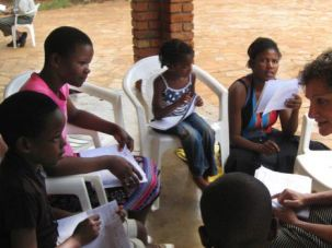 A Teaching Moment: Elaine Berg meets with Lemba children in Harare, Zimbabwe.