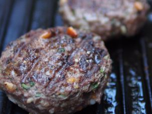 Lamb burgers on the grill.